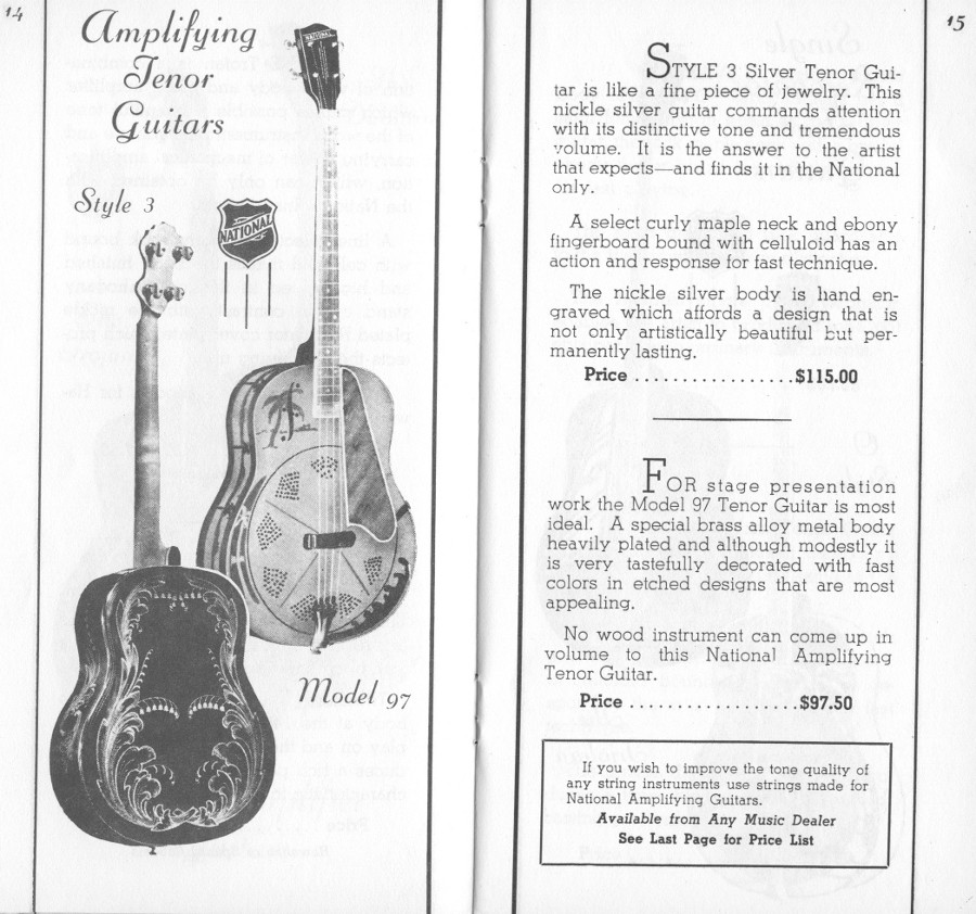 1936/7 catalogue Style 3 and Style 97 tenor guitarpage