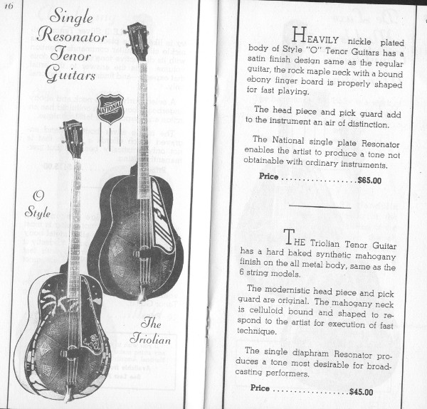 1936/7 catalogue Style O and Triolian tenor page