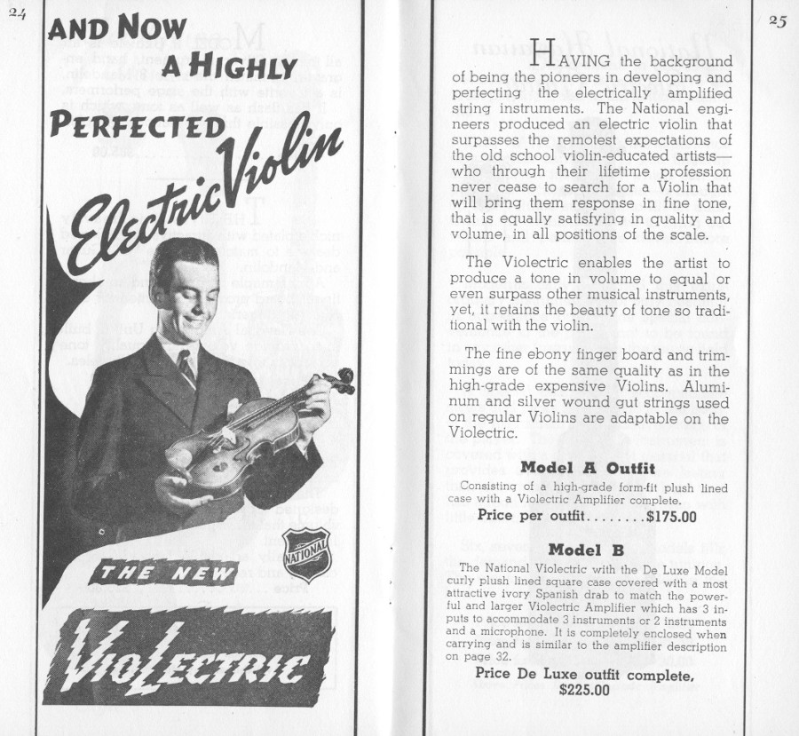 1936/7 catalogue Violectric page