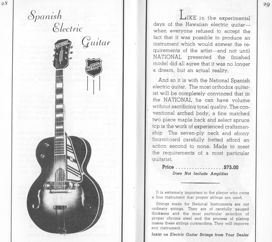 1936/7 catalogue electric archtop page