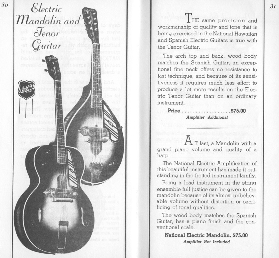 1936/7 catalogue electric mandolin and tenor guitar page