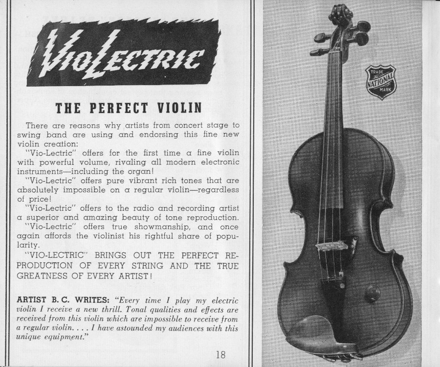 National 1940 catalogue electric violin