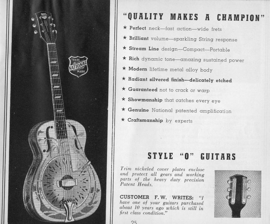 National 1940 catalogue Style O guitar