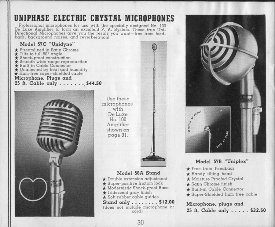 National 1940 catalogue microphones