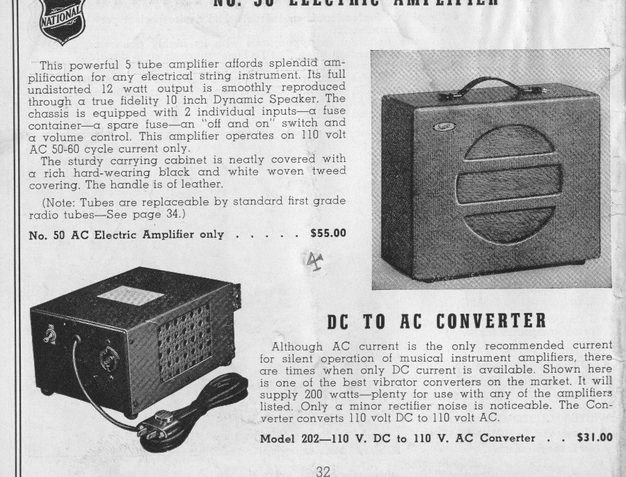 National 1940 catalogue number 50 amp
