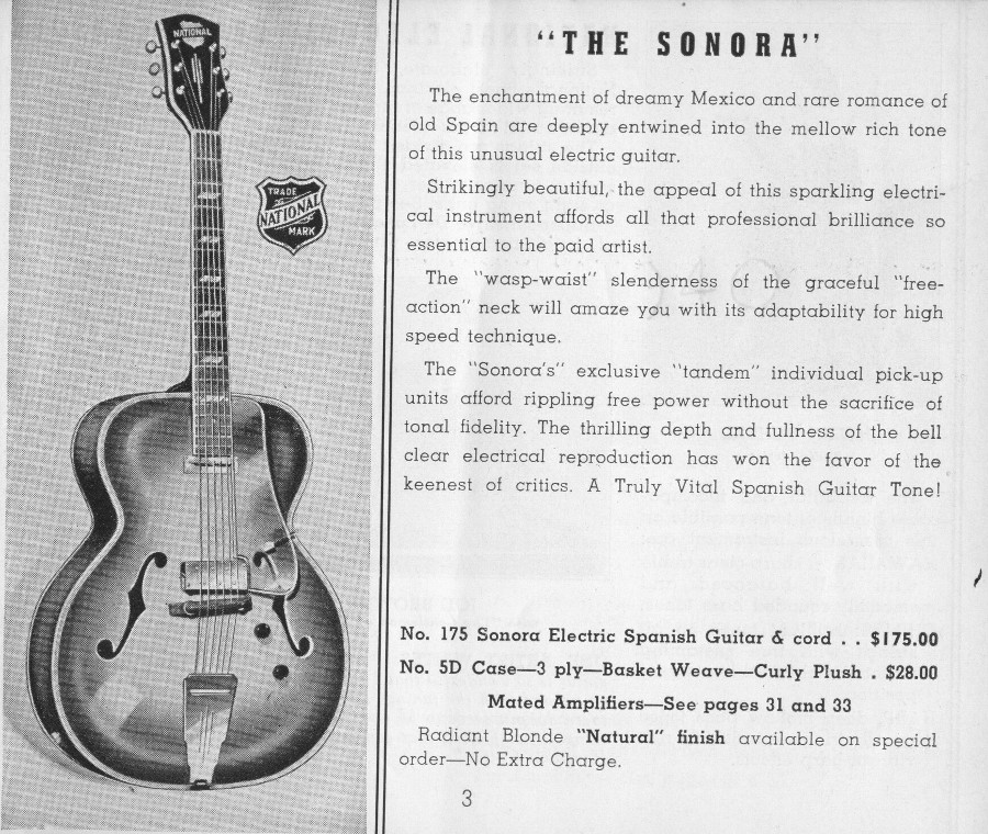 National 1940 catalogue page 3 the Sonora