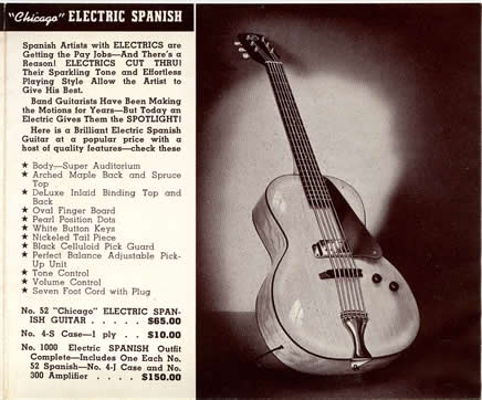 1941 catalogue Chicago electric spanish guitar page