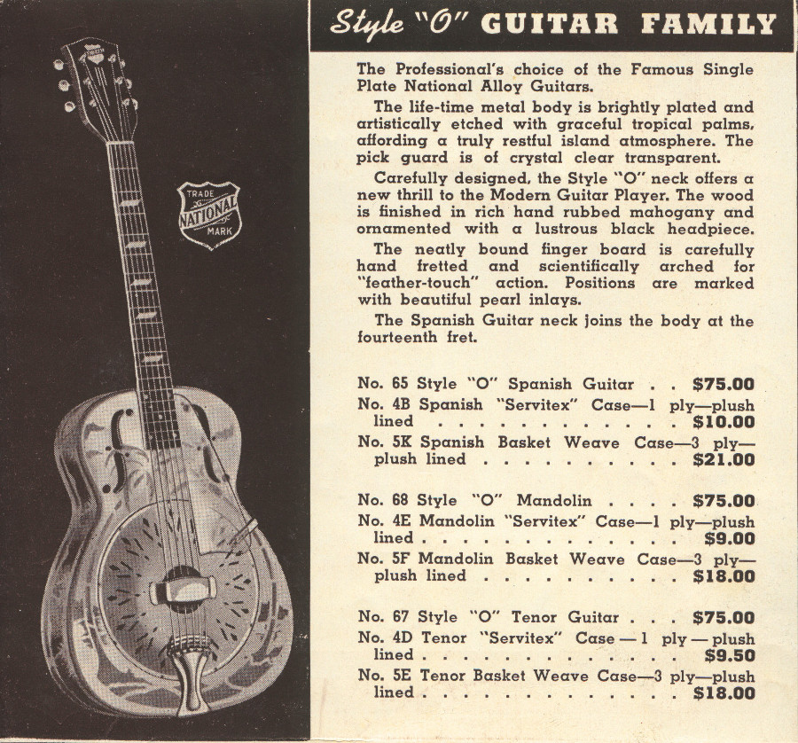 1941 catalogue style O guitar page