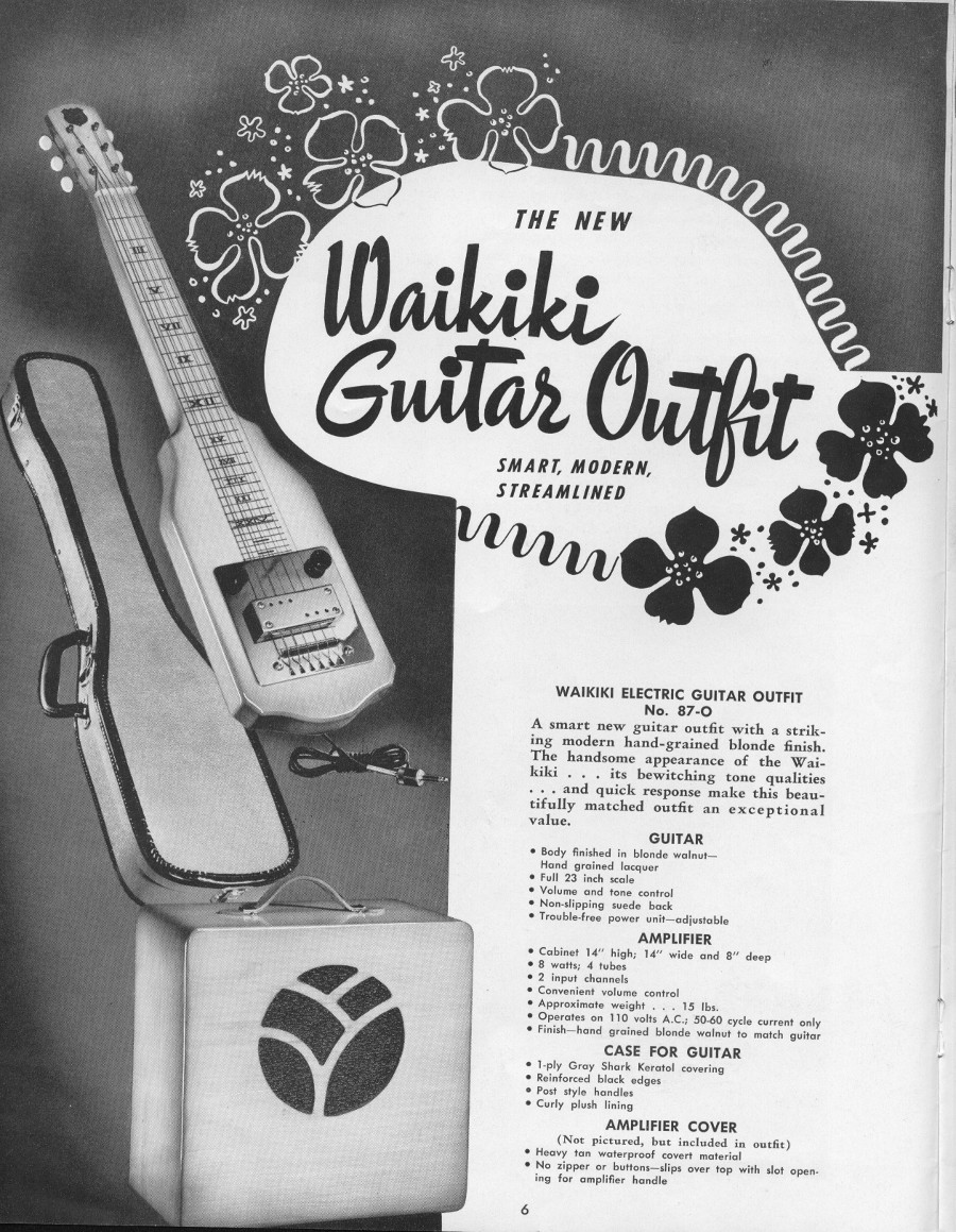 1942 catalogue Waikiki Electric guitar outfit. Lap steel and amplifier page