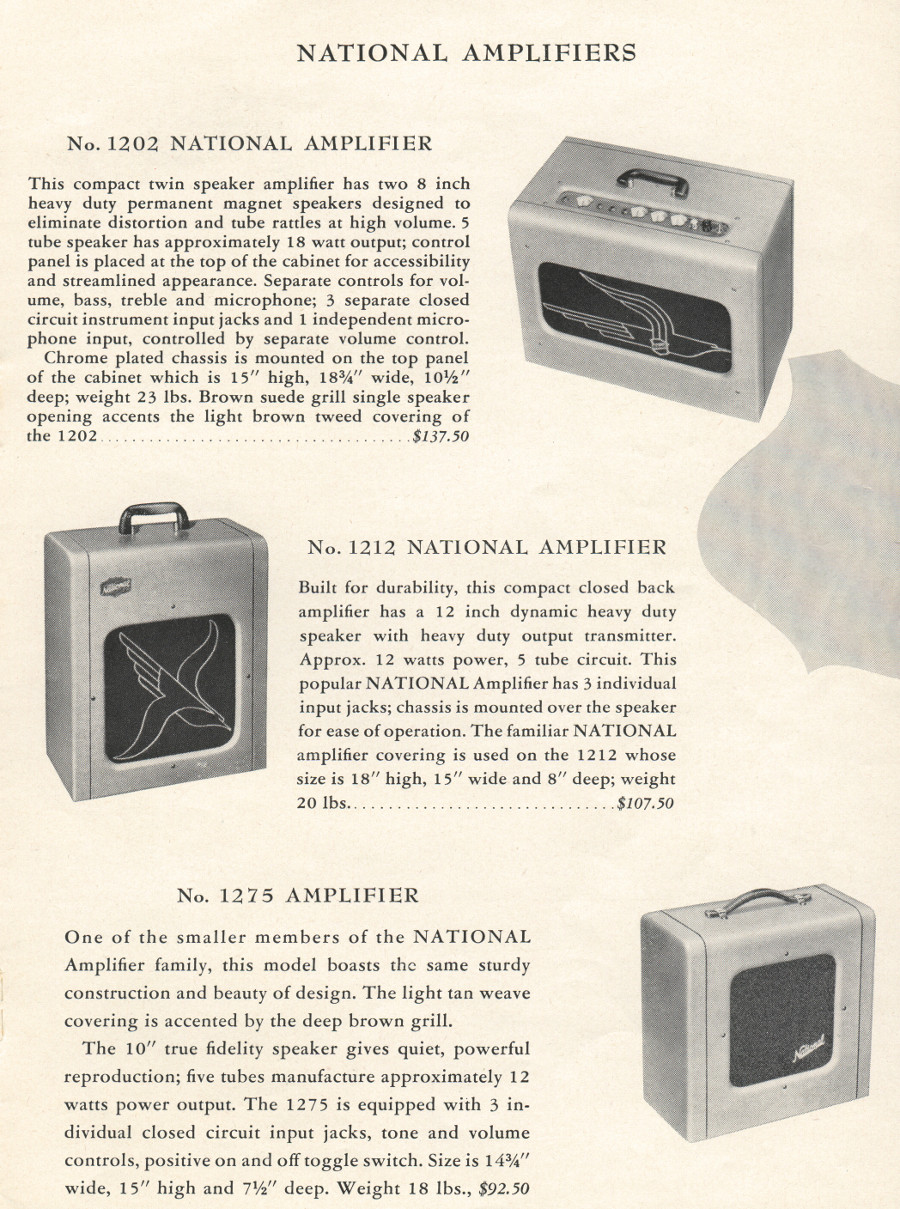 1951 catalogue amps with bird fronts page