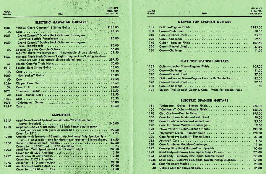 1953 catalogue , May 15th 1953 price list page