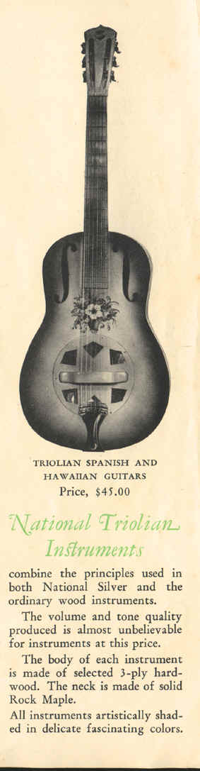 Trojo catalogue wood bodied Triolian with three cones