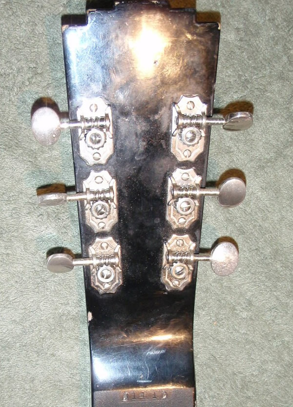 National New Yorker lap steel, V2 headstock rear